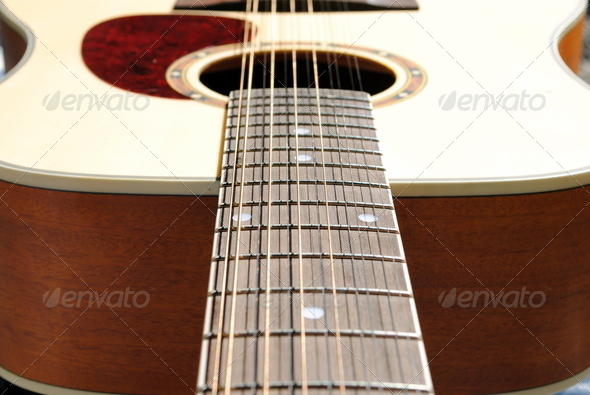 close-up of an acoustic twelve strings guitar - Stock Photo - Images