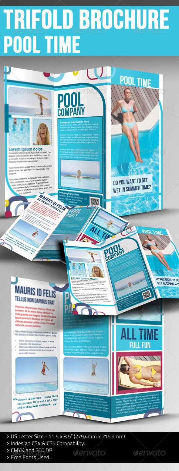 Trifold Brochure - Pool Time - Brochures Print Templates