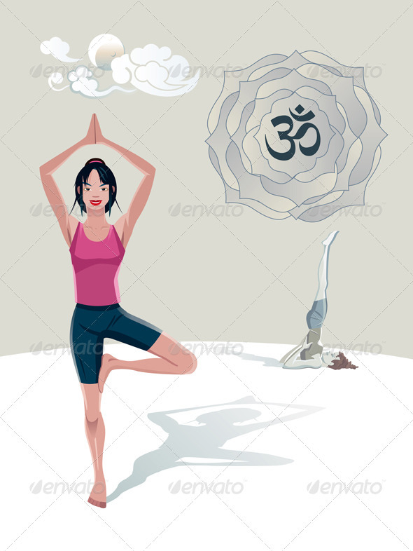 Woman Practicing Yoga Tree Asana - People Characters