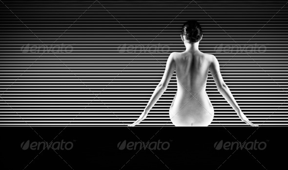 acrobatic abstract nude women lines - Stock Photo - Images