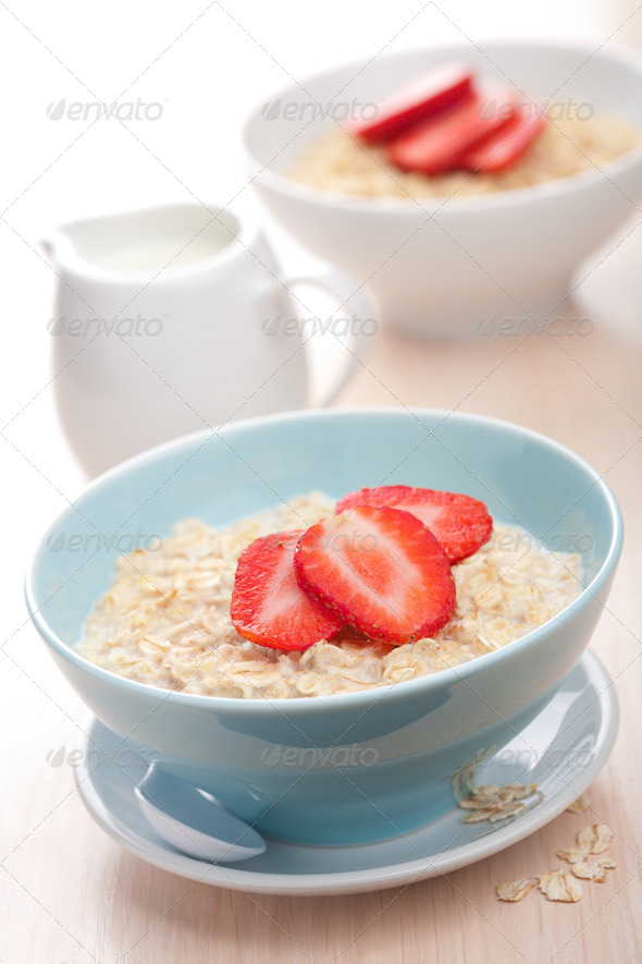 cereal with fresh strawberry - Stock Photo - Images