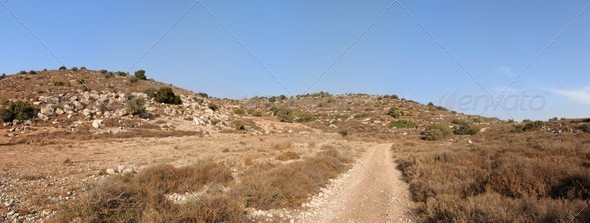 Mediterranean hill landscape with road - Stock Photo - Images