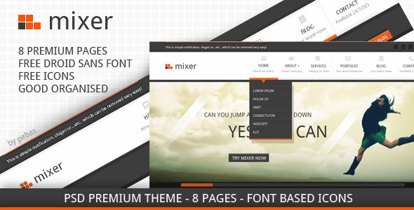 ThemeForest Mixer Creative PSD Template 2556277