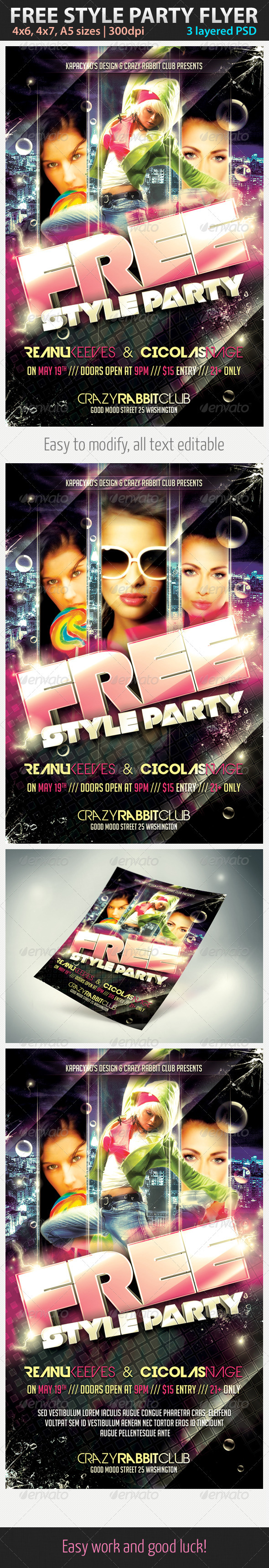 Free Style Party Flyer - Clubs &amp; Parties Events