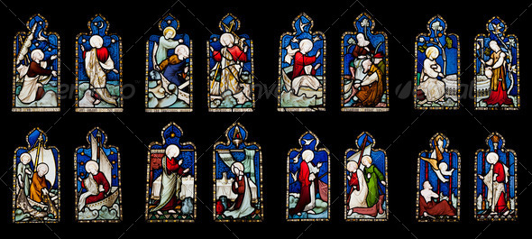 Religious stained glass windows - Stock Photo - Images
