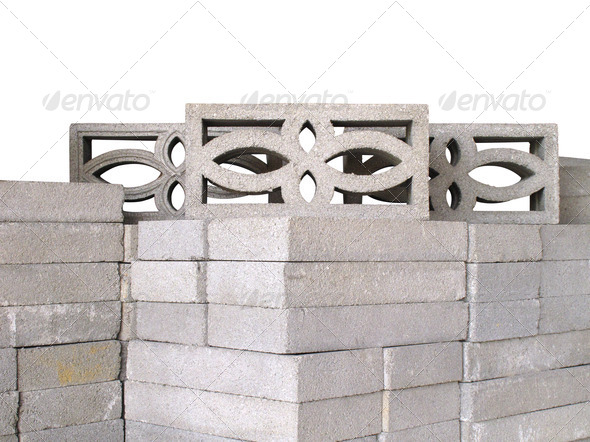 Stack of concrete ventilation blocks - Stock Photo - Images