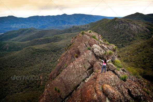 Woman on Mountain Top - Stock Photo - Images