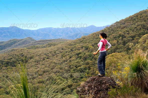 Woman Hiker in Mountains - Stock Photo - Images
