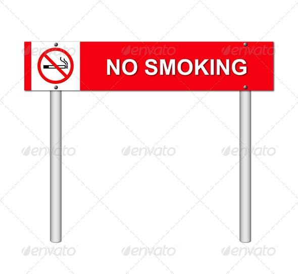 no smoking sign on white - Stock Photo - Images