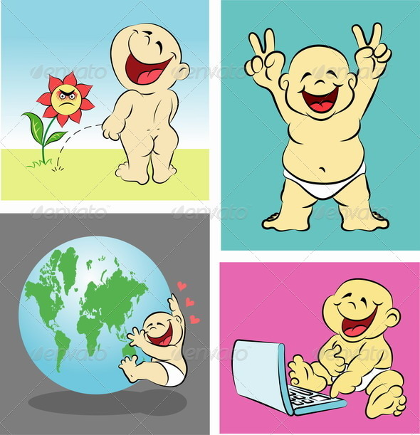 Happy baby stories 2  - Characters Vectors