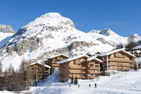 Mountain ski resort - Stock Photo - Images