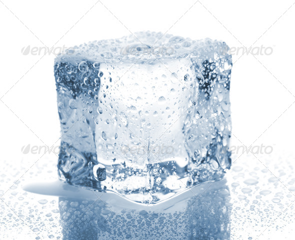 Ice cube with water drops - Stock Photo - Images