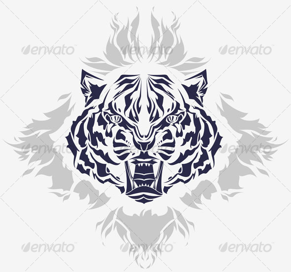 Tribal growling tiger head and flames - Animals Characters