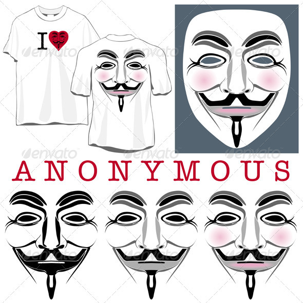 GraphicRiver Anonymous Faces in Black Color and T-shirts 2560143