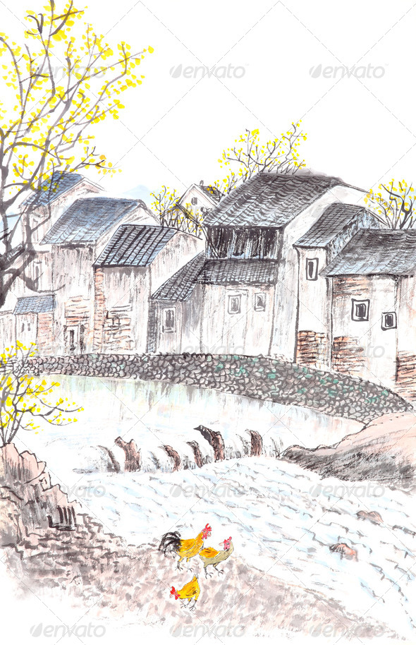 Traditional Chinese painting of country landscpe - Stock Photo - Images