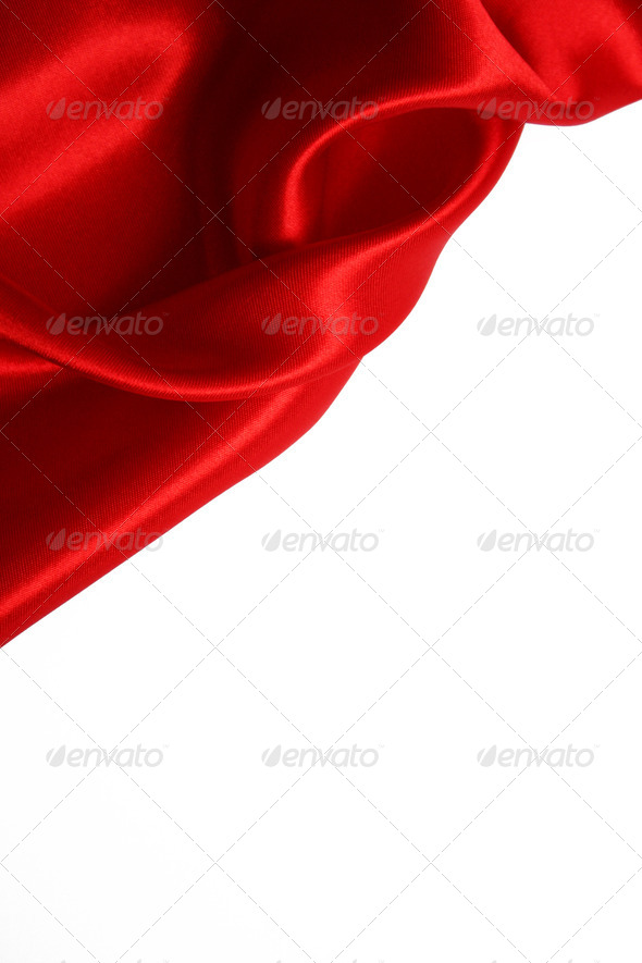 Smooth Red Silk as background - Stock Photo - Images