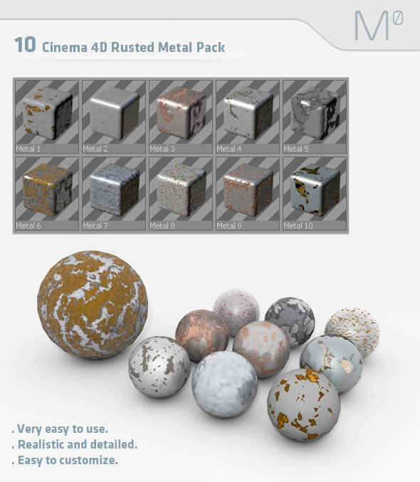 3DOcean 10 Cinema 4D Rusted Metal Pack 2561342