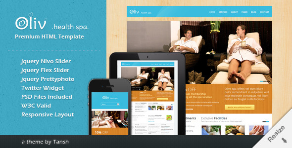 ThemeForest Oliv Responsive Spa Template 2561611