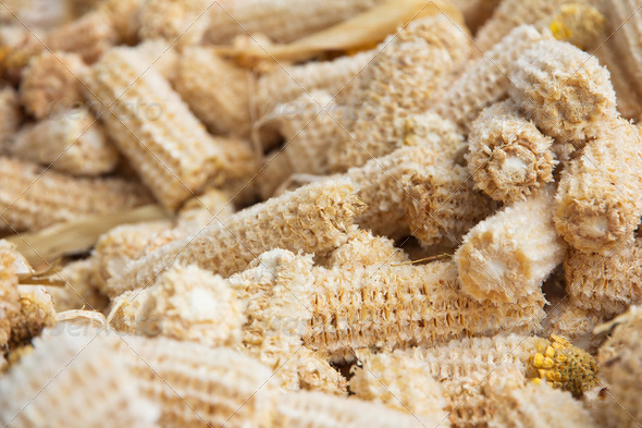 close up of Cob meal Ground corn cob  - Stock Photo - Images