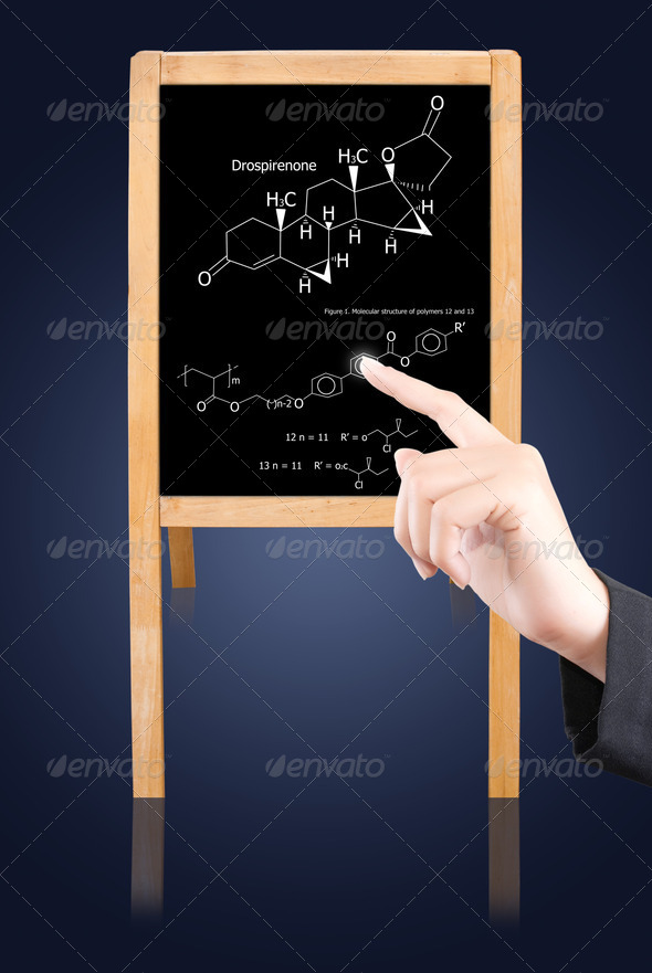 Hand pushing science on blackboard. - Stock Photo - Images