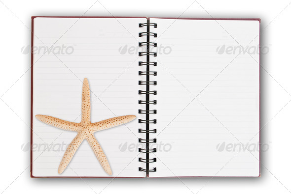 Star Fish on notebook. - Stock Photo - Images