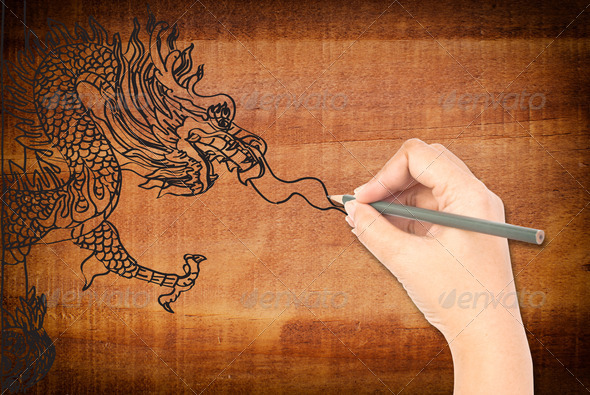 Hand drawing chinese style dragon statue. - Stock Photo - Images