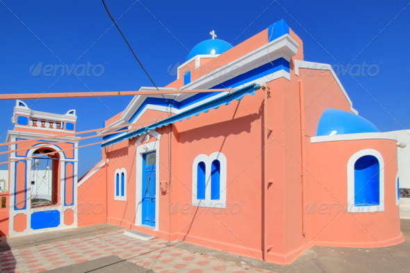 Typical church, Oia, Santorini, Greece - Stock Photo - Images