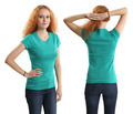 Pretty female wearing blank green shirt - PhotoDune Item for Sale