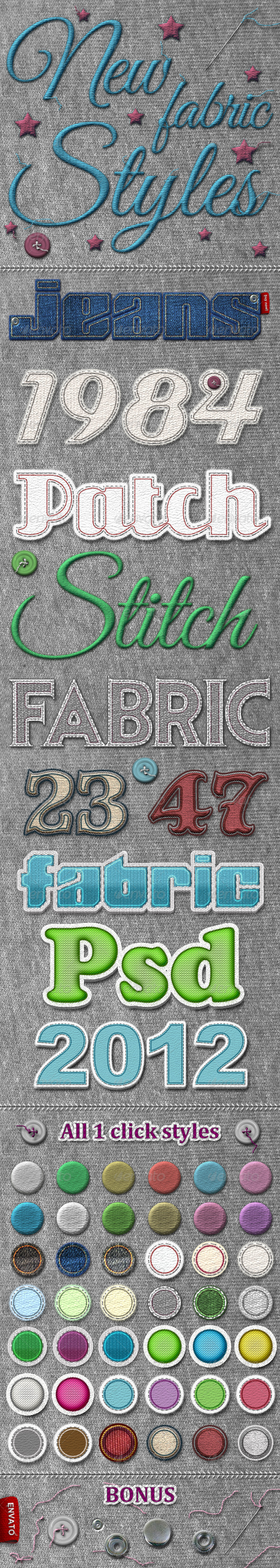New Fabric Styles - Text Effects Styles