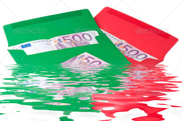 Colored envelope with Euros - Stock Photo - Images