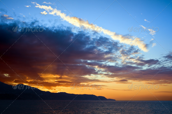 Rays of Sunlight at Sunset - Stock Photo - Images