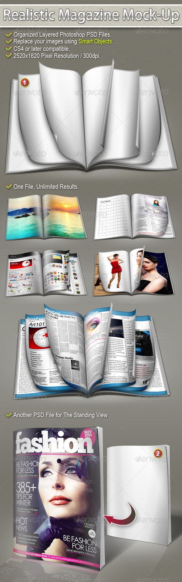 Realistic Magazine Mock-Up - Magazines Print