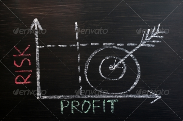 Risk-Profit graph drawn with chalk on a blackboard  - Stock Photo - Images