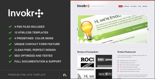 Invokr - Premium HTML Website Template - Corporate Site Templates