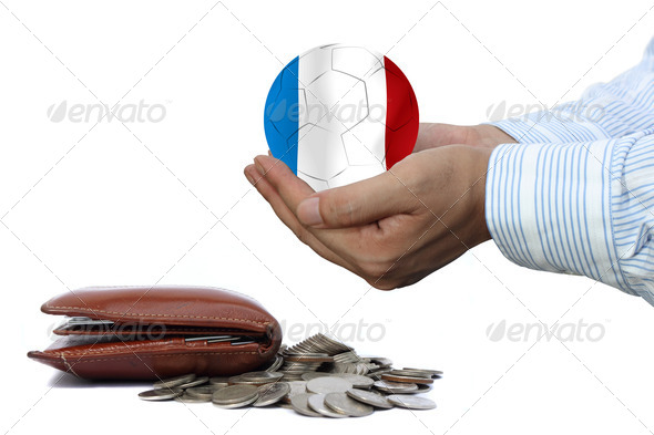 France soccer ball and money - Stock Photo - Images