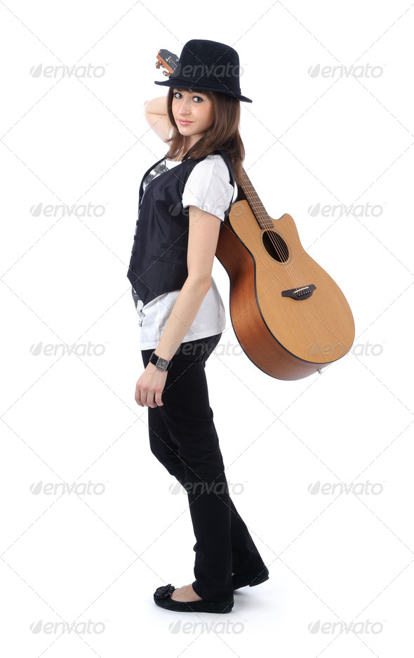 beautiful woman with guitar - Stock Photo - Images