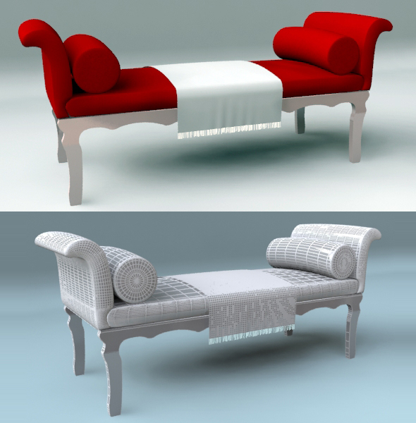Red Chaise Bench - 3DOcean Item for Sale
