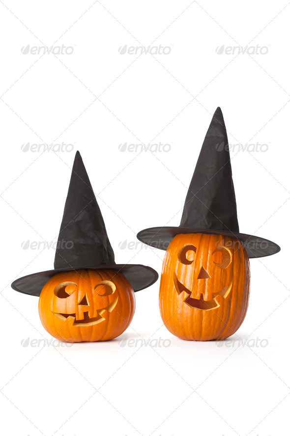 Two Halloween pumpkins with black hat - Stock Photo - Images