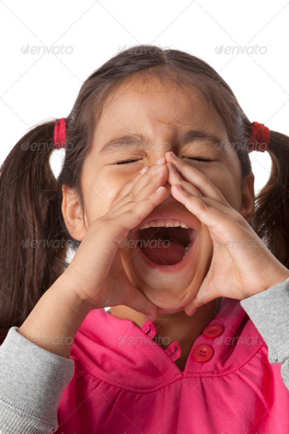 Little girl is screaming with her fingers around her mouth - Stock Photo - Images