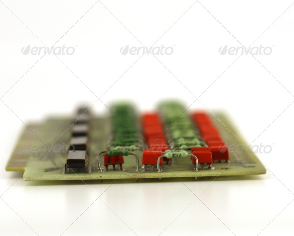 Old circuit board. Shallow DOF. - Stock Photo - Images