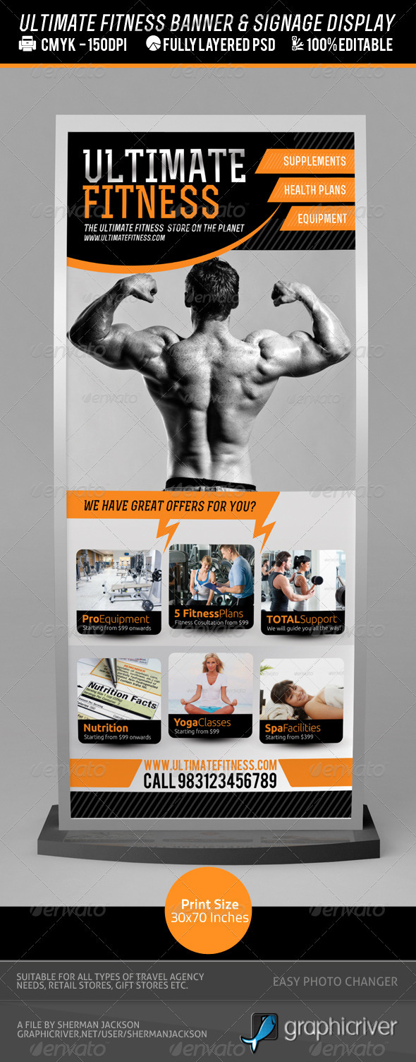 Fitness Centre or Product Banner PSD Template - Signage Print Templates