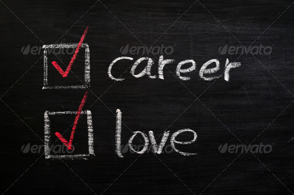 Love and career choices with check boxes drawn with chalk on a blackboard - Stock Photo - Images