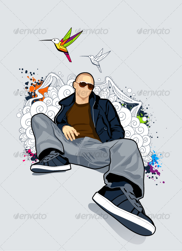 Bald man on abstract vector background - People Characters