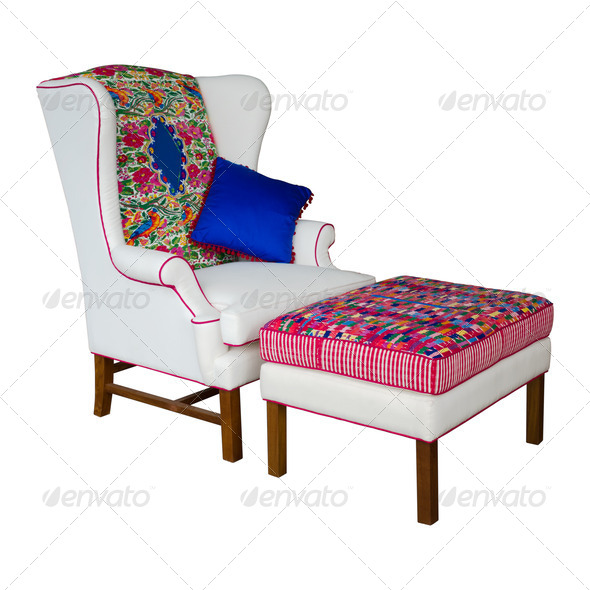 White Fabric armchair and stool - Stock Photo - Images