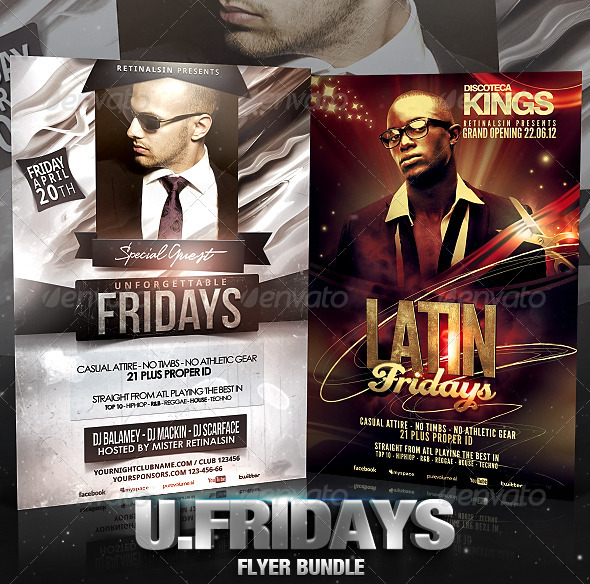 Unforgettable Fridays Flyer Bundle - Flyers Print Templates