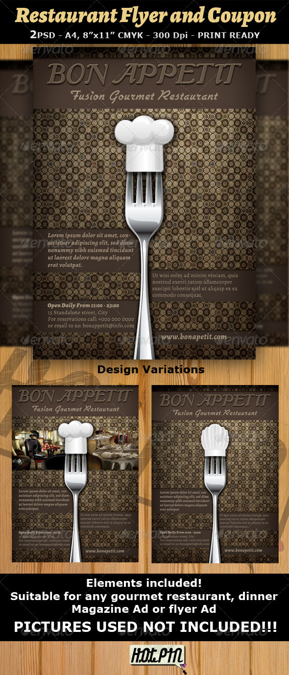 Restaurant Magazine Ad or Flyer Template v7 - Restaurant Flyers