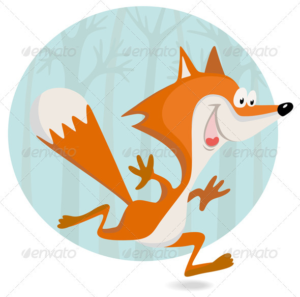 GraphicRiver Cartoon Little Fox In The Forest 2569085