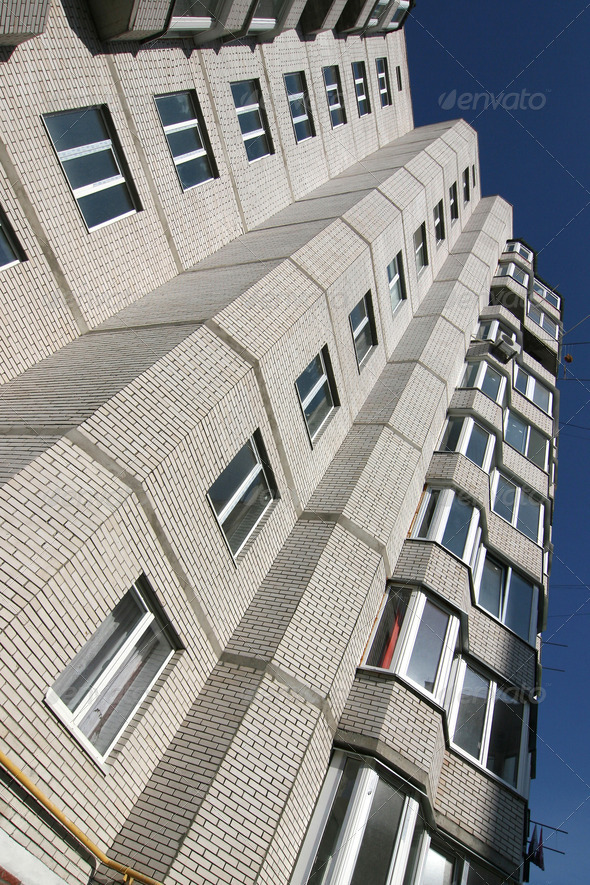 Multi-storey  house of white brick - Stock Photo - Images