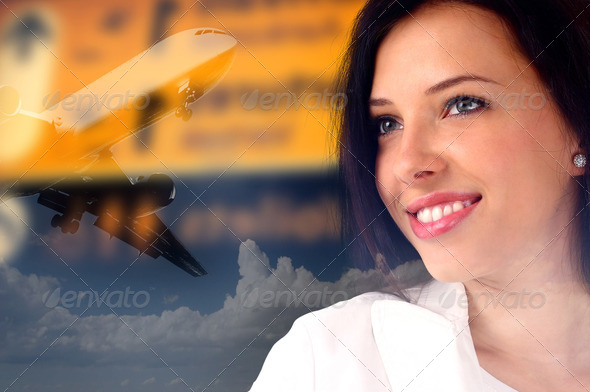 Businesswoman waiting at the airport - Stock Photo - Images