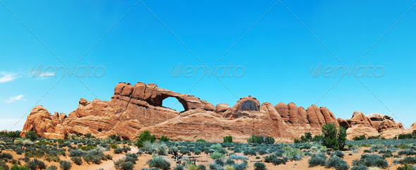 Scenic view at Arches National Park, Utah, USA - Stock Photo - Images